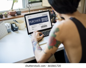 Man working on laptop network graphic overlay
