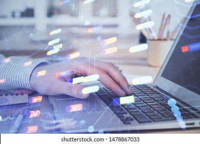 A man working on Laptop with technology theme drawing. Concept of big data. Double exposure.