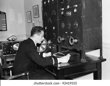Man working on a radio