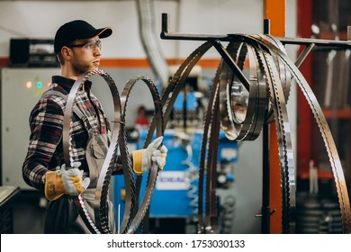 Man working on steel fatory and equipment for steel production