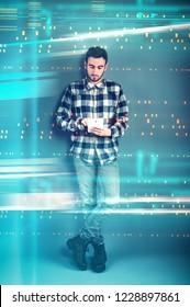 Man working on tablet in futuristic digital backgroud. High speed browsing .