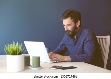 Man working overtime from home