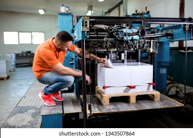 Man working in printing factory