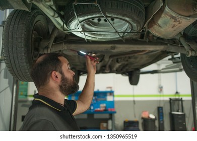 Man working under a car