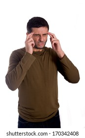 man worried and thinking wearing a brown shirt on a white background
