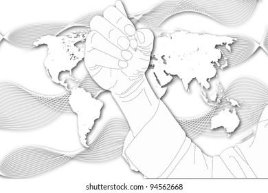 The man write on World Map background.