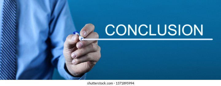 Man writing Conclusion text in screen.