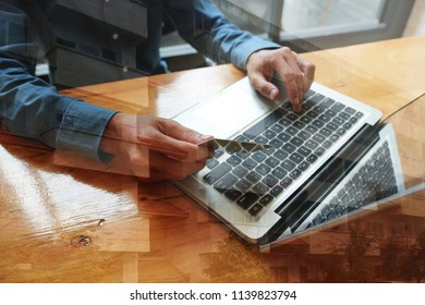 Man Writing with document at work office
