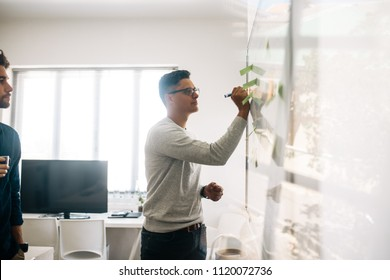 Man writing on board in the meeting room while his colleague looks on. Application developers in the board room discussing ideas and writing on board having adhesive post its on it.