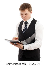 Man writing something in a folder. Isolated over white.
