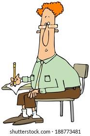 Man writing at a student desk