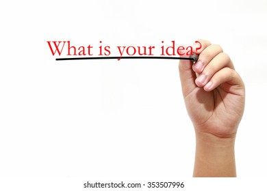 Man writing text what is your idea? over white