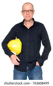 Man with yellow helmet in front of white background