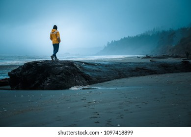 A man in a yellow raincoat walks along a giant log on Ruby Beach in Olympic National Park, washington