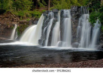 The Manabezho Falls, located in the Porcupine Mountains State Park are part of the Presque Isle River's spectacular final dash to Lake Superior.