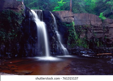 Manabezho Falls on the Presque Isle River in Porcupine Mountains State Park of Michigan