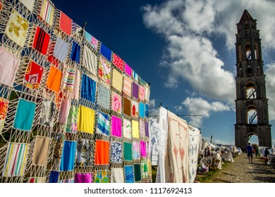 Manaca Iznaga/Cuba - February 2018: Colourful blankets which are sold on local market