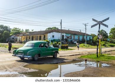 Manaca-Iznaga, Cuba - Jul 6, 2016: Railway crossing in a rural town