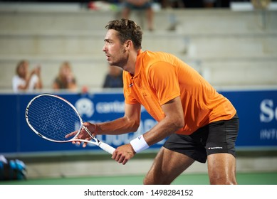 MANACOR, MALLORCA/ESPAÑA - 31 DE AGOSTO DE 2019: David Pel (NED) playing with Sander Arends (NED, not pictured) at the final of the Rafa Nadal Open by Sotheby's International Realty