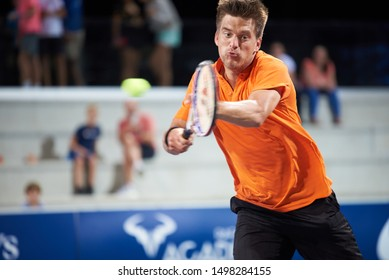MANACOR, MALLORCA/ESPAÑA - 31 DE AGOSTO DE 2019: Sander Arends (NED) playing with David Pel (NED, not pictured) at the final of the Rafa Nadal Open by Sotheby's International Realty