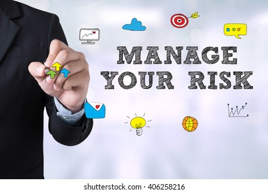MANAGE YOUR RISK Businessman drawing Landing Page on blurred abstract background