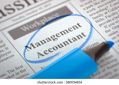 Management Accountant - Job Vacancy in Newspaper, Circled with a Blue Marker. Blurred Image. Selective focus. Concept of Recruitment. 3D.