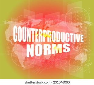 Management concept: counterproductive norms words on digital screen