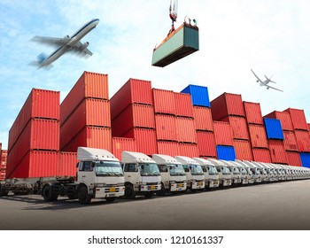 Management distribution at container yard for transport business logistics of Industrial Container Cargo, Import Export system.
