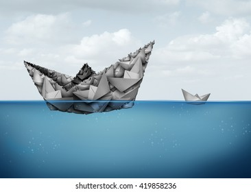 Management and organization financial and business concept as a group of paper boats joining together to create a large size powerful entity to better compete and succeed in a 3D illustration style.