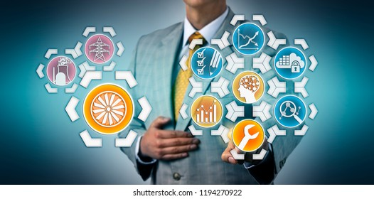 Manager activating AI aided predictive maintenance for a steam turbine in a nuclear power generation plant via touch screen interface. Energy industry concept for digital transformation, big data.