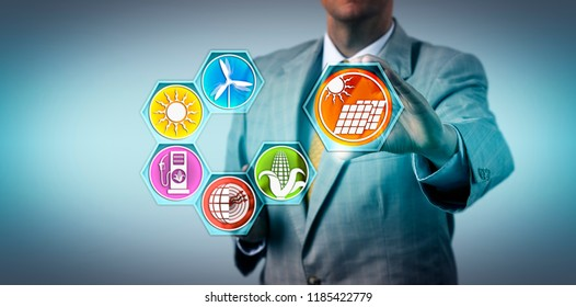 Manager adding photovoltaics to the renewable energy mix. Industry and technology metaphor for solar-generated electricity, environmental conservation, sustainability, ecology, solar PV technology.