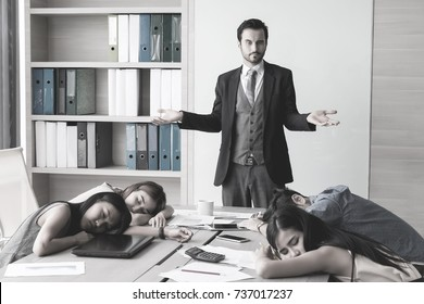 Manager angry because his team sleeping in meetting room.