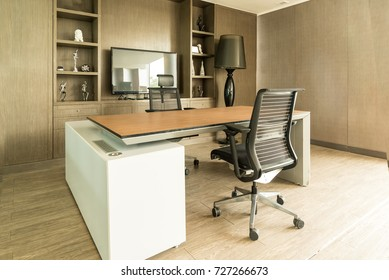 Manager board room with table, chairs and plasma display.nobody in room. interior office