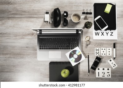 manager business tabletop with office objects on a wooden table