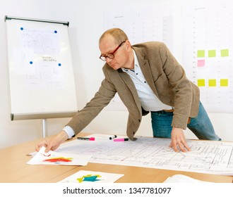 Manager checking technical drawings and in the background you see a white board, some planinng sheets with sticky notes.