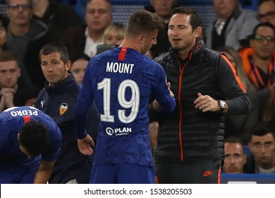 Manager of Chelsea, Frank Lampard with Mason Mount of Chelsea after being substituted - Chelsea v Valencia, UEFA Champions League - Group H, Stamford Bridge, London, UK - 17th September 2019