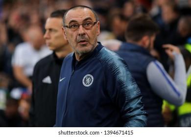 Manager of Chelsea, Maurizio Sarri - Chelsea v Eintracht Frankfurt, UEFA Europa League Semi Final - 2nd Leg, Stamford Bridge, London (Fulham) - 9th May 2019