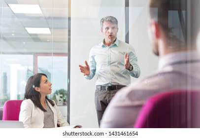 Manager explaining colleagues in office meeting