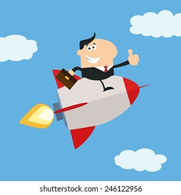 Manager Flying In The Sky And Giving Thumb Up.Flat Style Raster Illustration