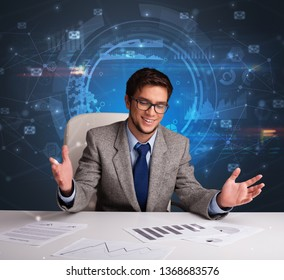 Manager in front of the office desk with connections and teamwork  concept