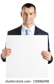Manager hands white paper copyspace for the text, isolated on white