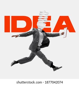 Manager headed by lightbulb running with fresh idea. Copyspace to insert your text. Modern design. Contemporary art. Creative conceptual and colorful collage. Office worker lifestyle concept.