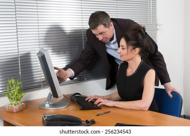 Manager and his secretary working in the office