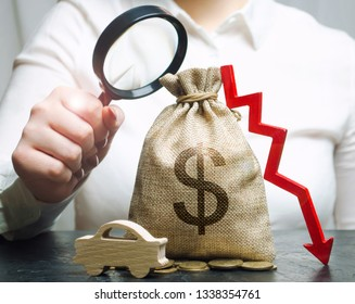 A manager is holding a magnifying glass over a money bag, a car and a down arrow. Falling cost of maintenance and repairs of the machine. Reduced duty on electric cars. Tax exemption. Low prices