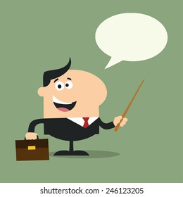 Manager Holding A Pointer Stick.Flat Style Raster Illustration With Speech Bubble