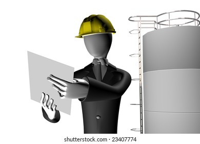 manager of industrial site 3d illustration isolated on white background