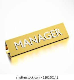manager job title on nameplate, for career professions. 3d render.