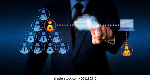 Manager plugging into his team a remotely working female freelancer to share a task with a permanent male employee. Technology concept for outsourcing, casual labor marketplace and mobile computing.