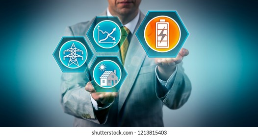 Manager presenting a stationary battery energy storage solution for rooftop solar panel electric power generation. Industry metaphor for decentralization of electricity sources and clean energy.