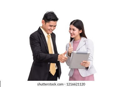 Manager and secretary discussing and working thumb up on white background